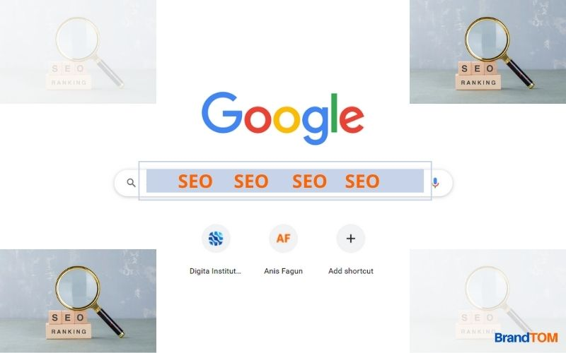 """The word """"SEO"""" is seen on Google search bar."""