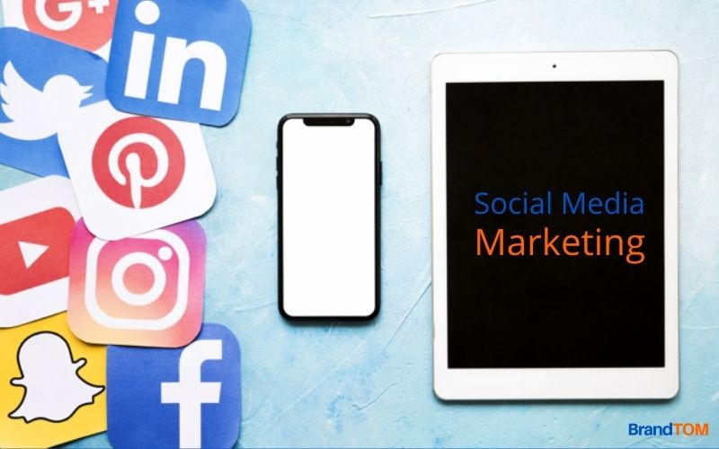 Social media icons, mobile phone and tablet